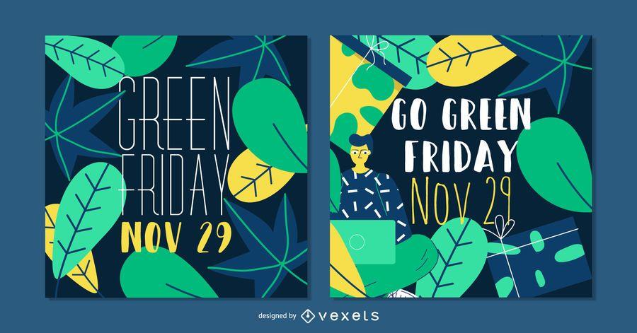 Sexta-feira verde Social Post Banner Set