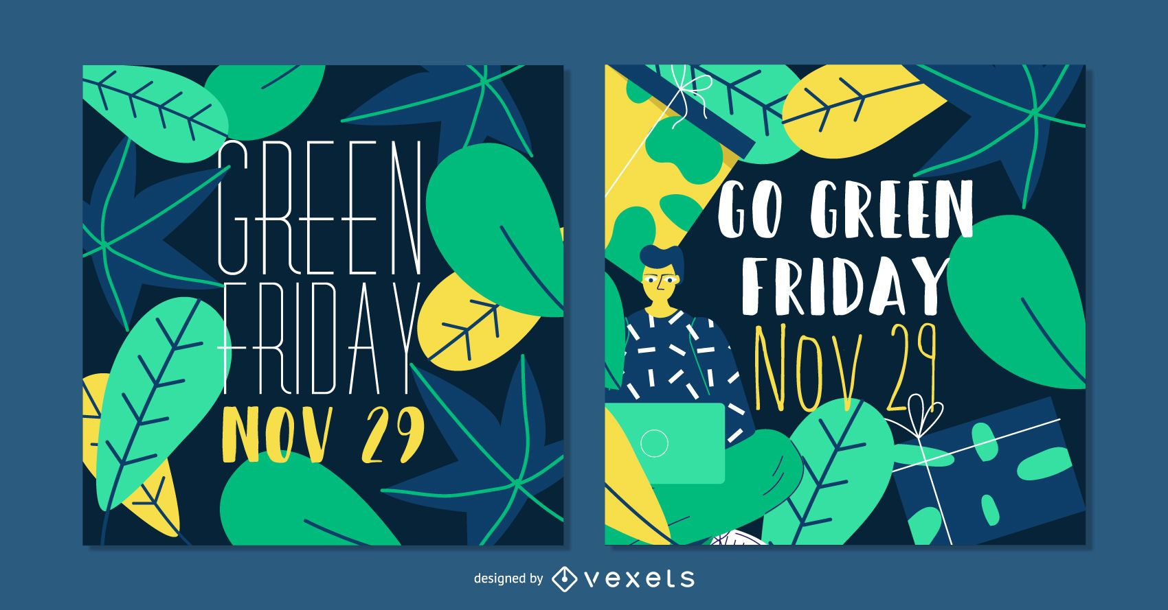 Conjunto de banners de publicación social de Green Friday