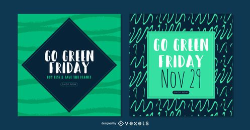 Conjunto de banner verde sexta-feira