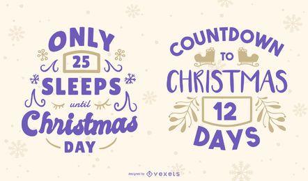 Conjunto de banner editable de cuenta regresiva de Navidad