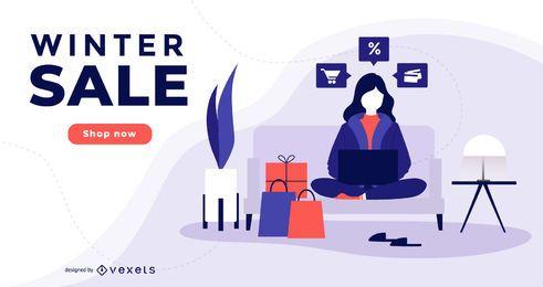 Diseño de banner de marketing de venta de invierno