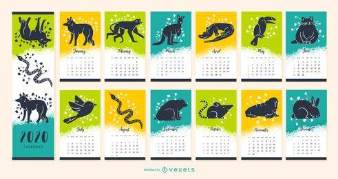 Ano 2020 Design de calendário animal