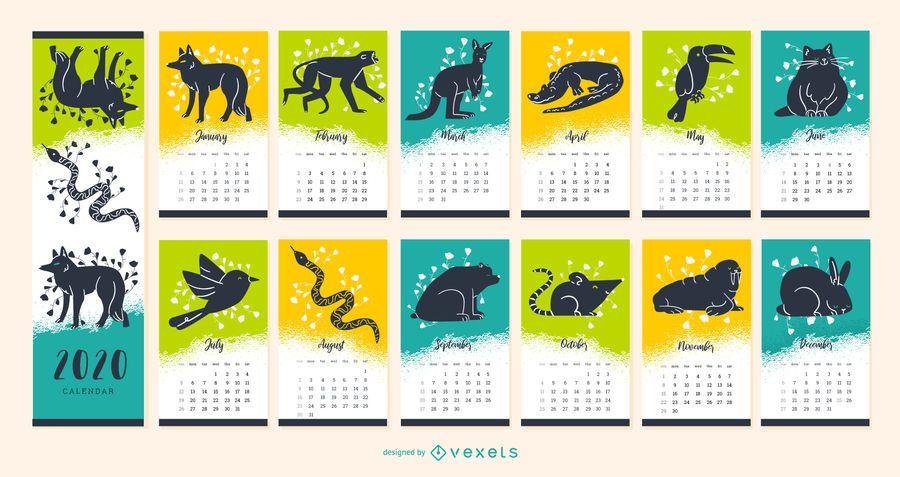 Diseño de calendario animal del año 2020