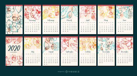 Design do calendário do ano 2020 da flor