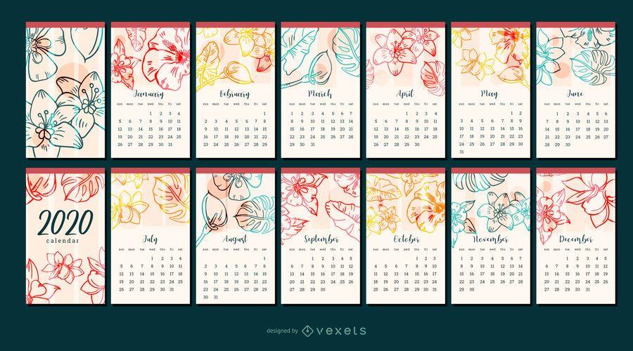 Diseño del calendario del año de la flor 2020