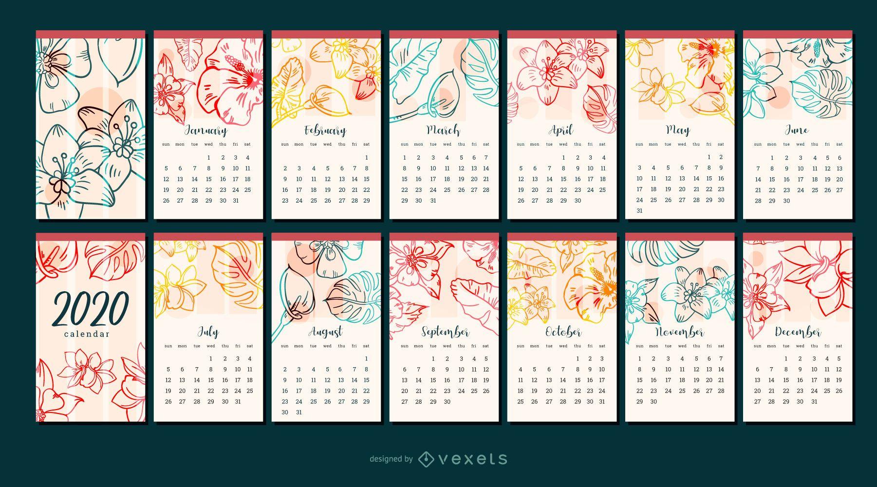 Diseño de calendario de flor 2020 año