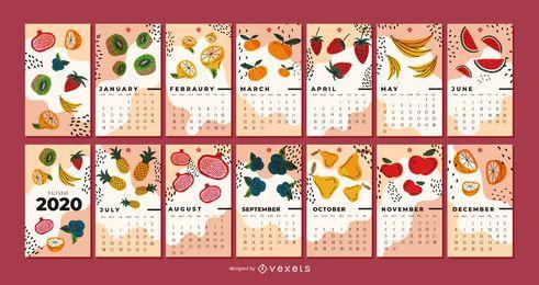 Diseño de calendario de ilustración de frutas 2020