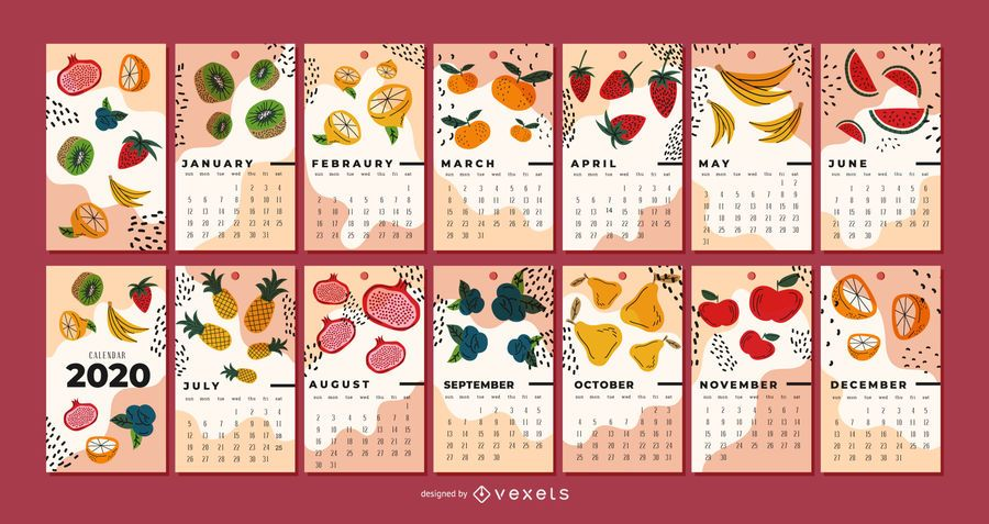 Ilustración de frutas 2020 Diseño de calendario