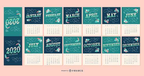 Design de calendário de letras 2020