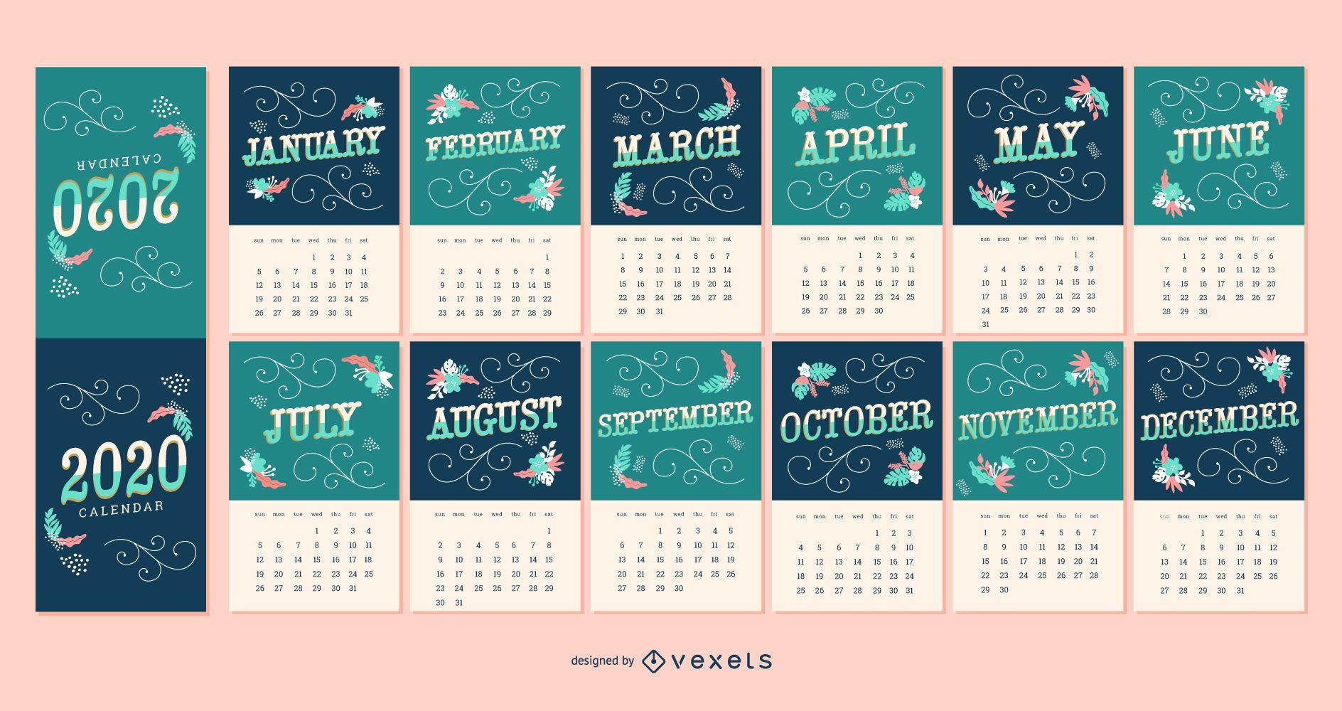 Diseño de calendario de letras 2020
