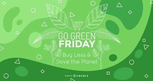 Projeto editável do papel de parede verde de sexta-feira