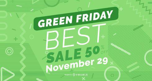 Diseño de banner de descuento de viernes verde