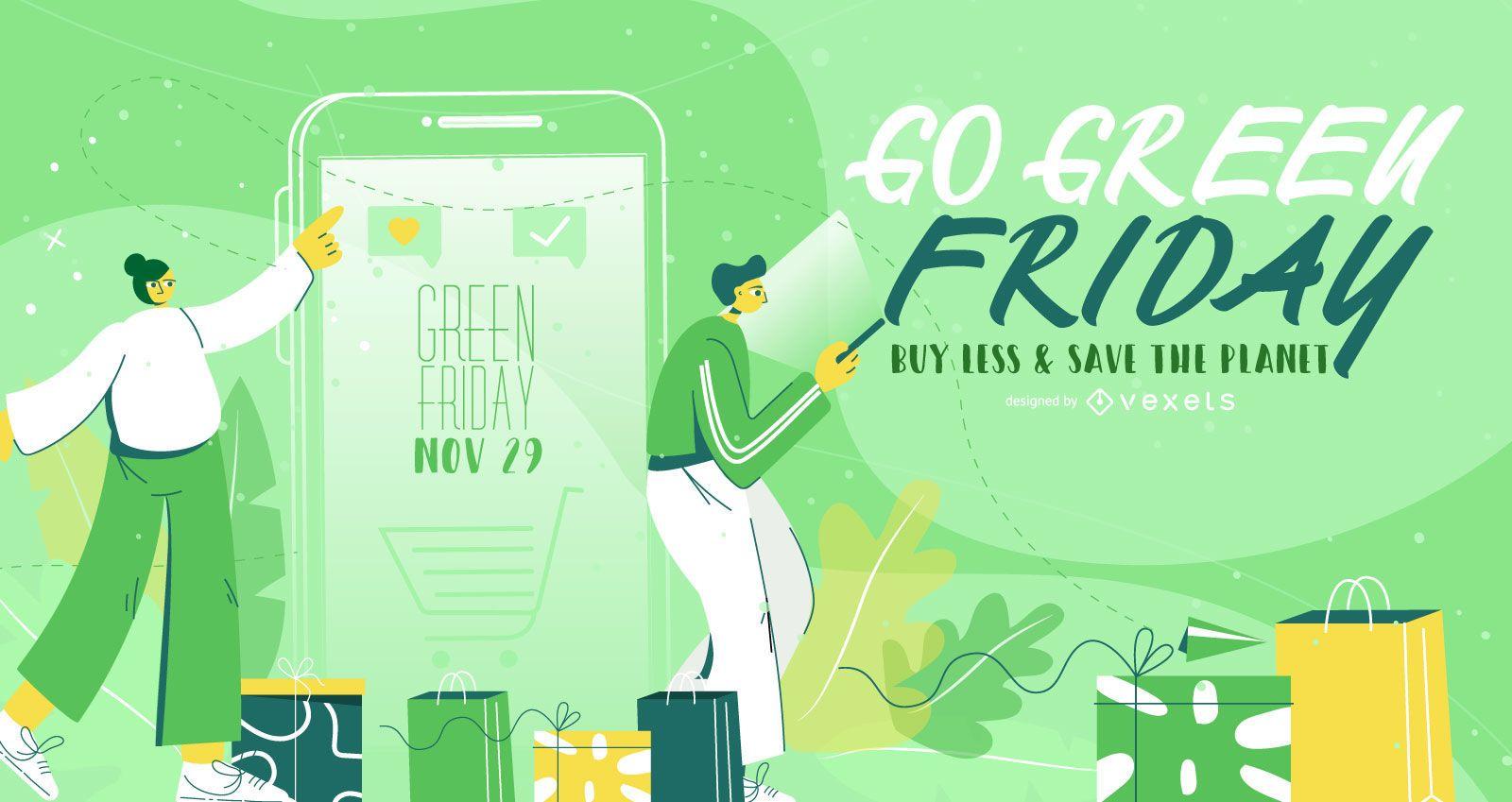 Diseño de banner de ilustración de viernes verde