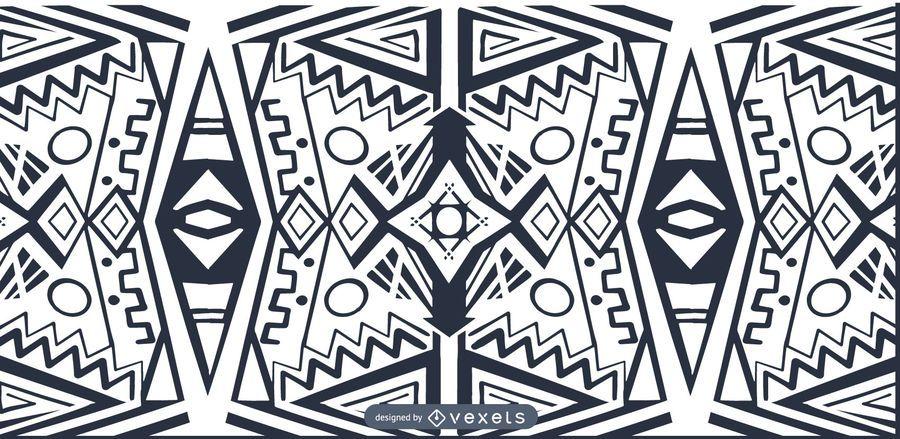 Estilo africano preto branco padrão
