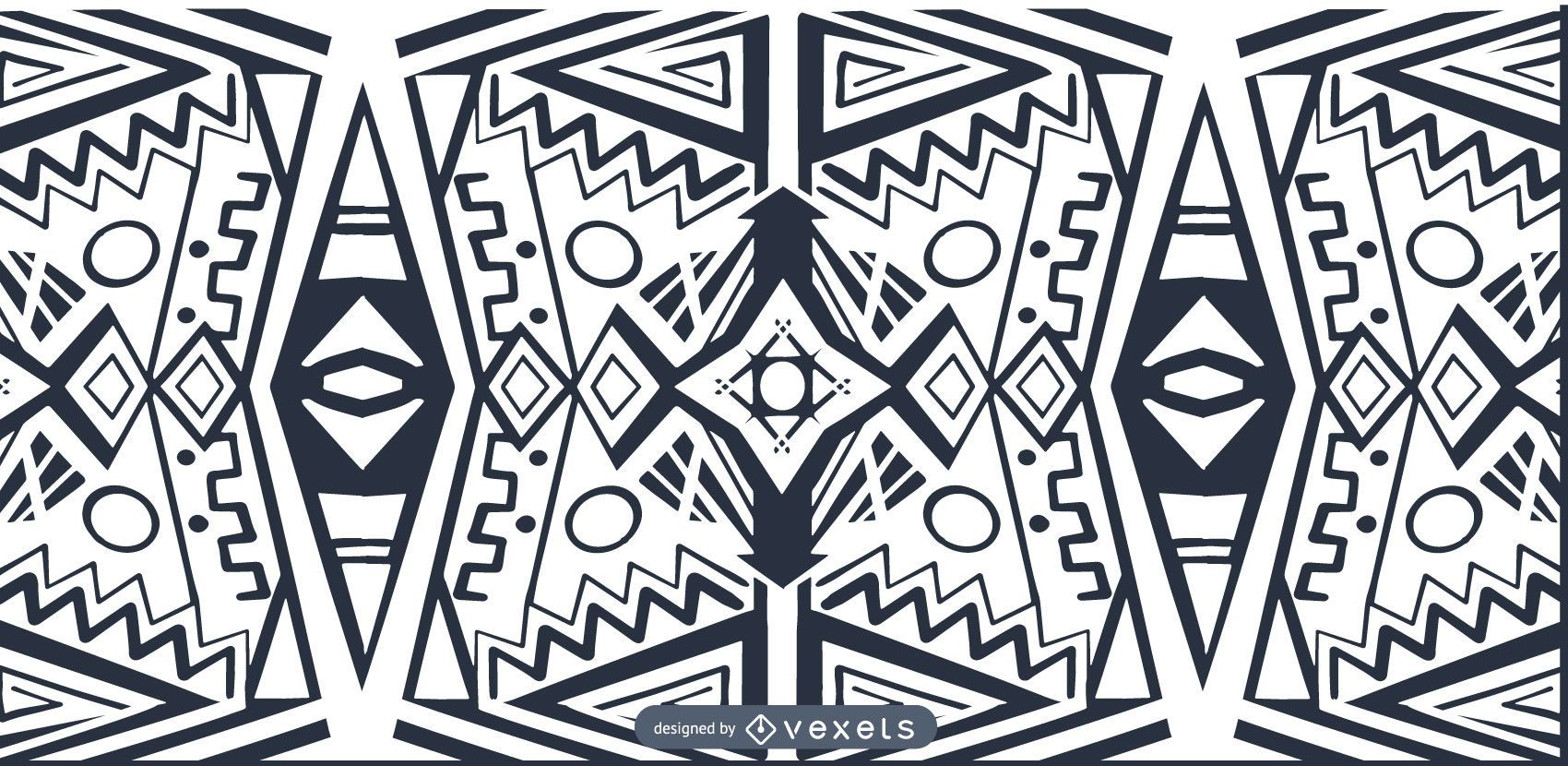 Patrón blanco negro estilo africano