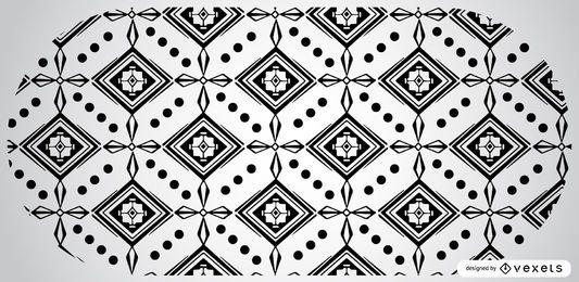 Diseño de patrón azteca en blanco y negro