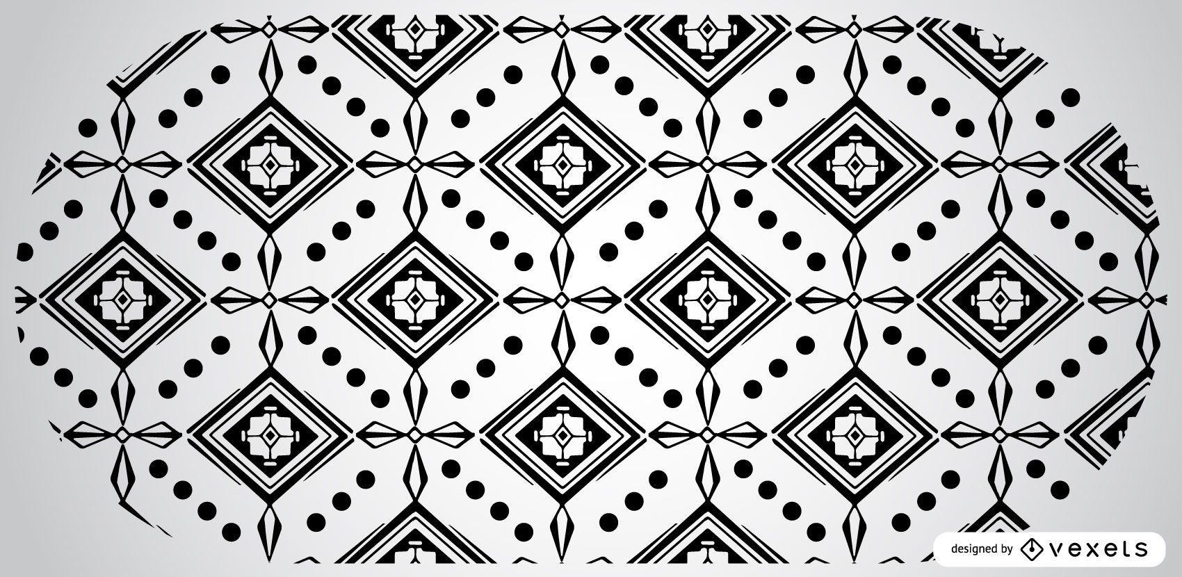 Black and White Aztec Pattern Design