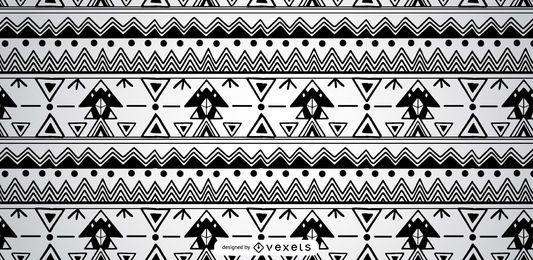 Aztekischer schwarzer weißer Muster-Entwurf