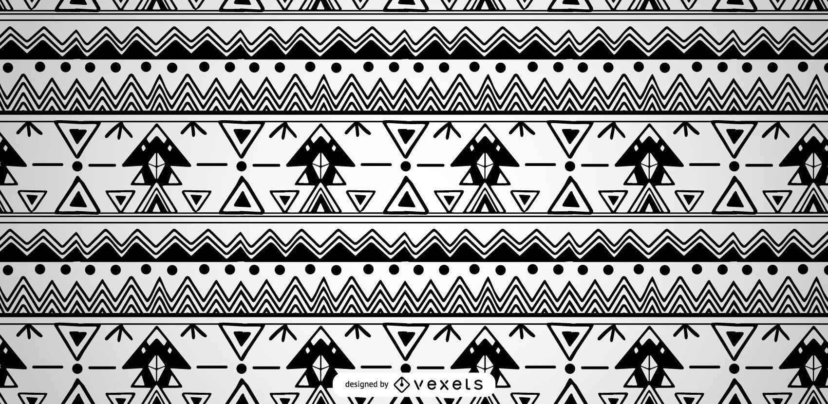Aztec Black White Pattern Design