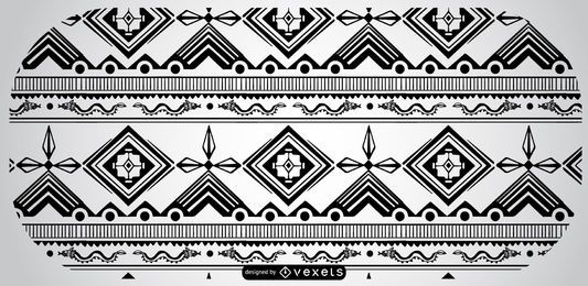 Diseño de patrón azteca blanco negro