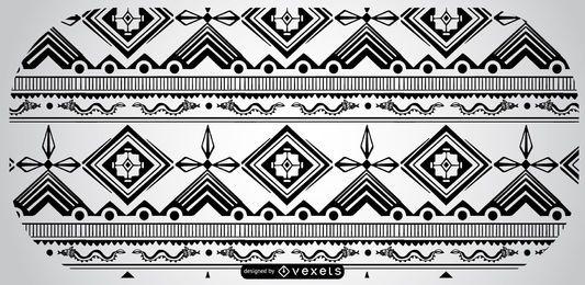 Schwarz-weißer aztekischer Muster-Entwurf