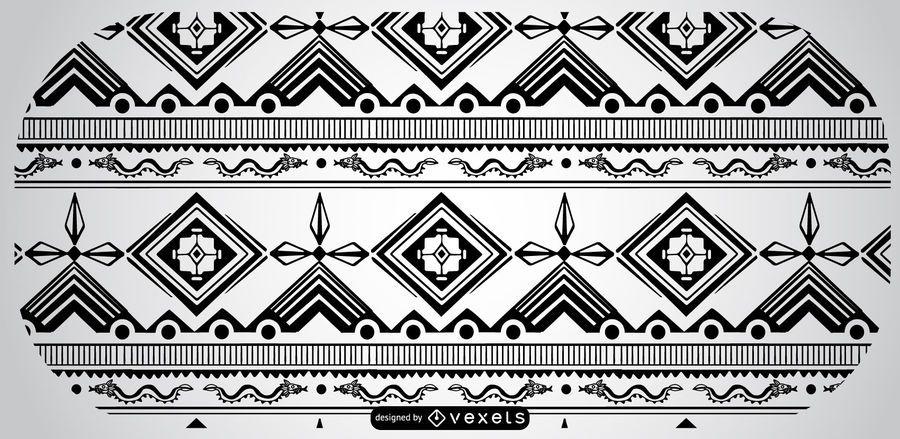 Black White Aztec Pattern Design