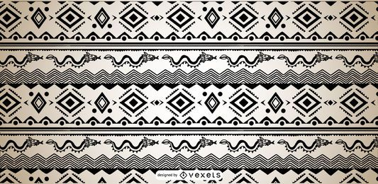 Aztec Pattern Black White Design