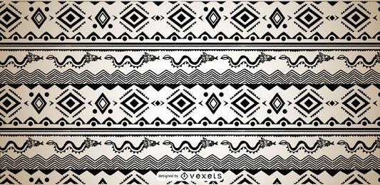 Design asteca preto branco padrão