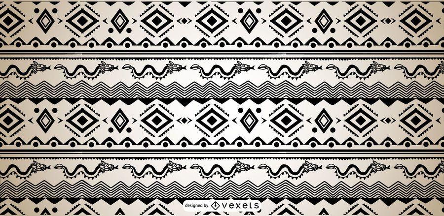 Aztec Pattern Black White Design