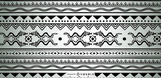 Diseño de patrón azteca monocromo