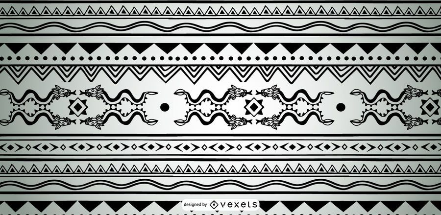 Monochrome Aztec Pattern Design