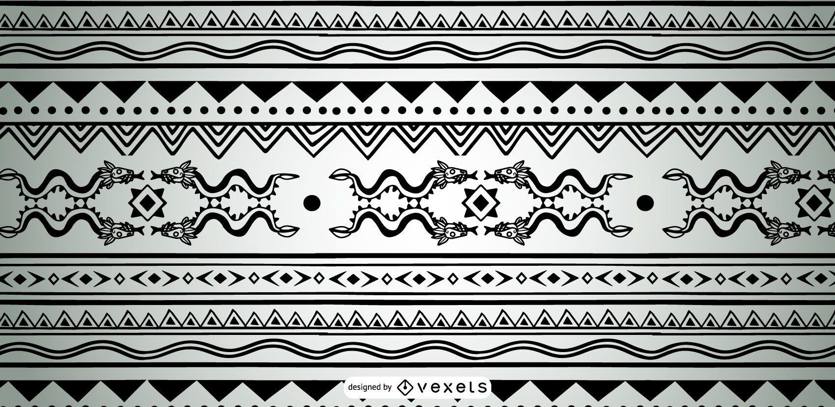 Monochrome Aztec Pattern Design
