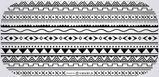 Aztec Geometric Black White Pattern