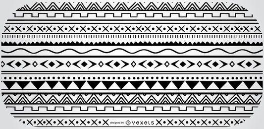 Patrón blanco negro geométrico azteca