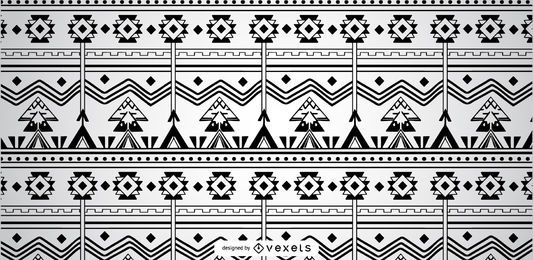 Black White Geomtetrical Aztec Pattern