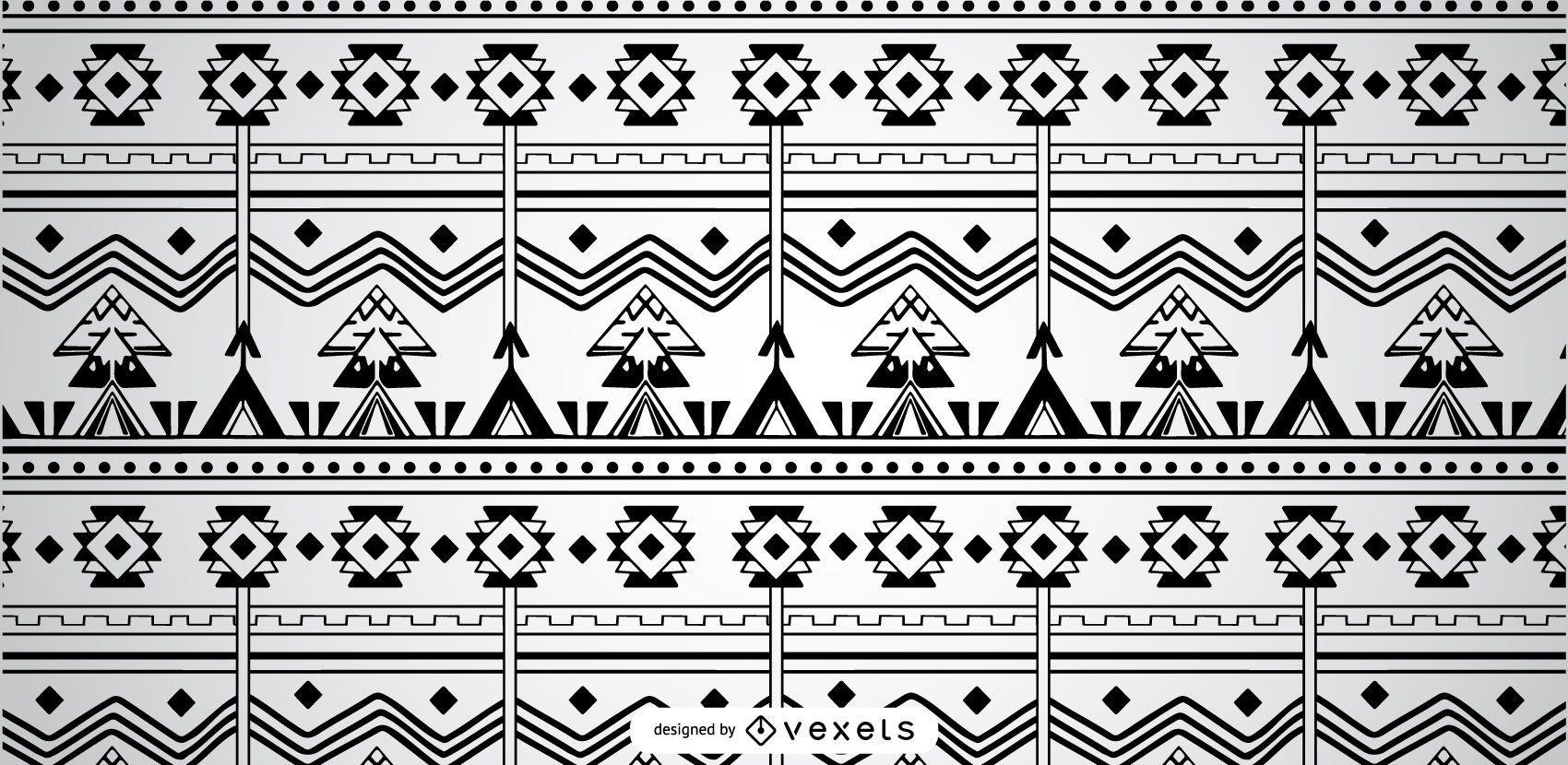 Black White Geomtetrical Aztec Pattern
