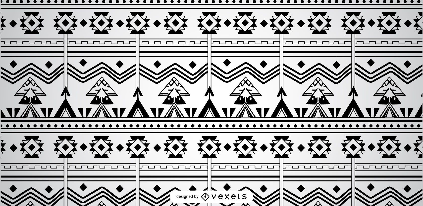 Patrón Azteca Geométrico Blanco Negro