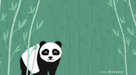 Fundo de bambu urso panda floresta