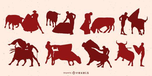 Pacote de design de silhueta de toureiro