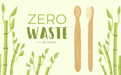 Design de escova de dentes de madeira com zero resíduos