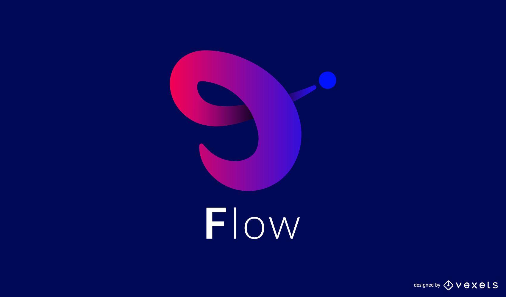 Diseño de logotipo de gradiente de flujo dinámico