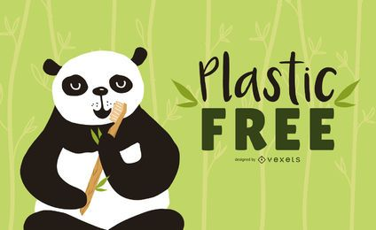 Design de escova de dentes de bambu Panda