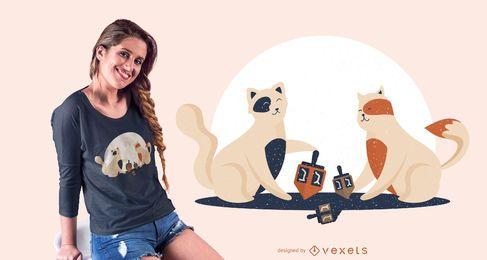 Diseño de camiseta de gatitos jugando Dreidl