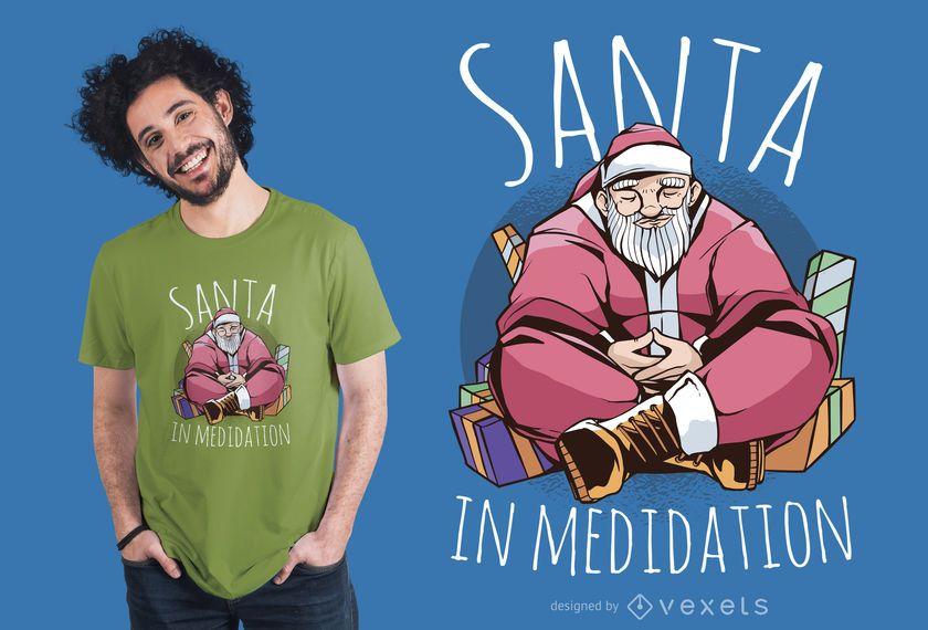 Design de t-shirt de meditação de Papai Noel