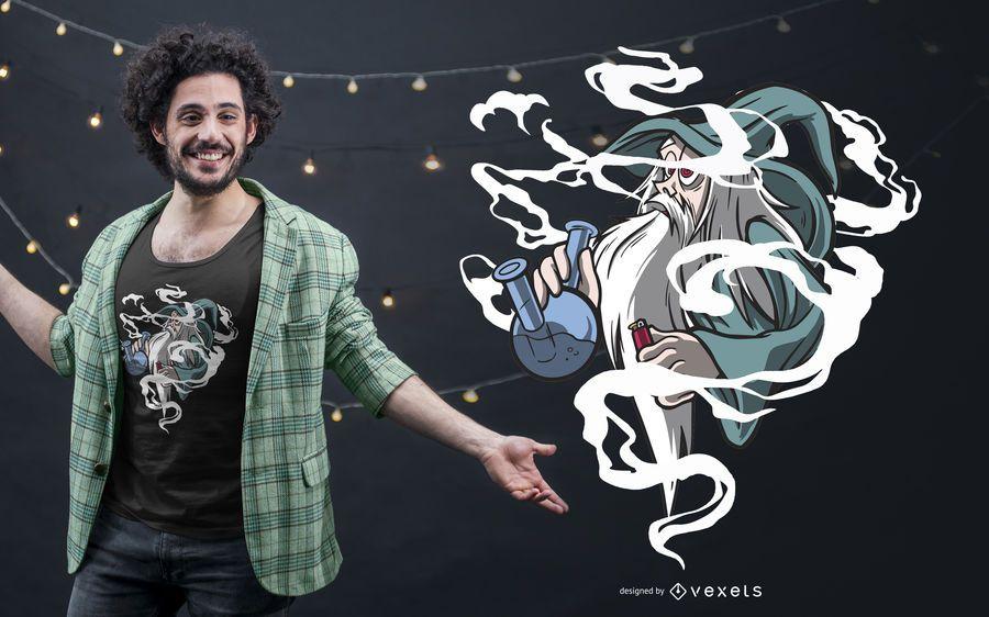 Diseño de camiseta Bong Smoking Wizard