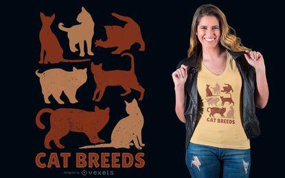 Design de t-shirt de raças de gato