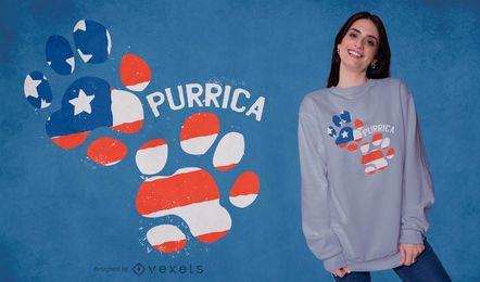 Diseño de camiseta con huella de Purrica