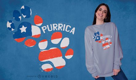 Purrica footprint t-shirt design