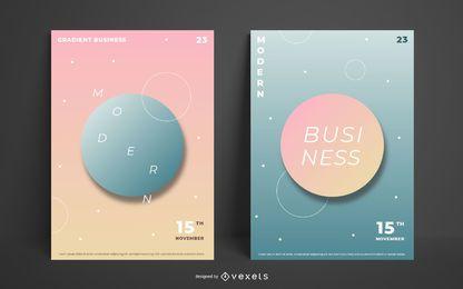 Conjunto de cartaz de negócios gradiente abstrato