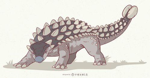 Ilustración de dinosaurio anquilosaurio